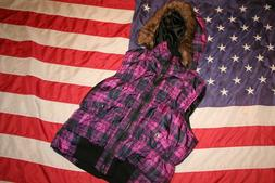 #27 Pink Soup Womens puffer Hoodie Vest Jacket Size X-Large: