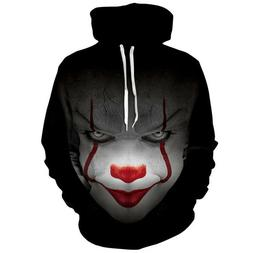 3D Print Sweatshirts Hoodie Stephen King It Pennywise Horror