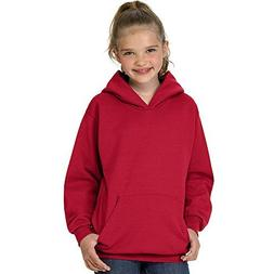 Hanes 50/50 Youth Hooded Sweatshirt, XL, Deep Red