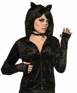 Adult's Womens Black Cat Hoodie With Ears Costume Accessory