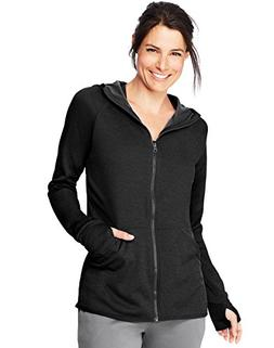 Hanes Women's Sport Performance Fleece Full Zip Hoodie, Blac
