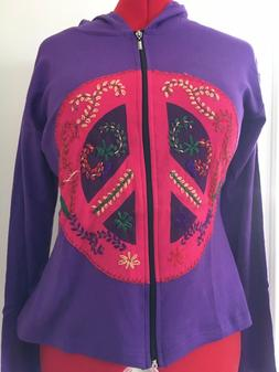 Hippie 60's Peace Sign Hoodie Adult Costume Accessory, One S
