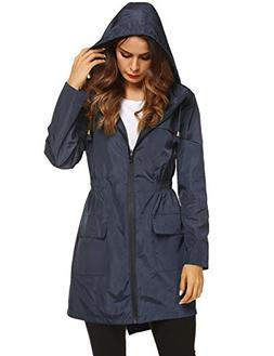 LOMON Womens Lightweight Packable Outdoor Raincoat Windproof
