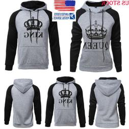 Lover Couple King And Queen Long Sleeve Hoodie Jumper Sweate
