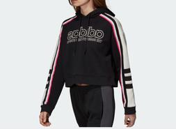 NEW WOMEN'S ADIDAS ORIGINALS CROPPED SWEATSHIRT HOODIE   BLA