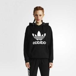 NEW WOMEN'S ADIDAS ORIGINALS TREFOIL HOODIE   BLACK//WHITE