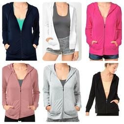 Sofra Teejoy Women's Casual Thin Cotton Zip Up Hoodie Jacket