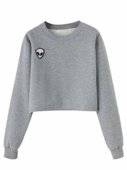 SweatyRocks Women's Crop Top Sweatshirt Hoodie With Alien Pa
