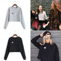 women hooded sweatshirt long sleeve crop jumper