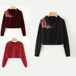 Women Hoodie Sweatshirt Hooded Crop Blouse Coat Flower Embro