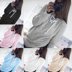 Women Lace Up V-Neck Long Sleeve Casual Pullover Loose Hoodi