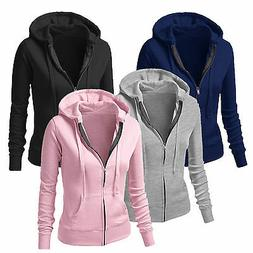 Women Plain Hoodie Fleece Sweatshirt Hooded Coat Sports Zip
