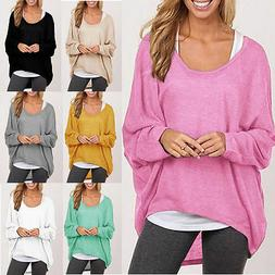 Women Plus Size Long Sleeve Pullover T-shirt Lady Loose Bagg