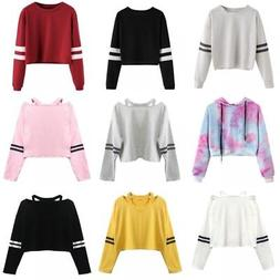 Women Striped Hoodie Long Sleeve Jumper Crop Top Coat Sport