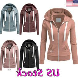 Women Zipper Tops Hoodie Winter Warm Hooded Sweatshirt Coat