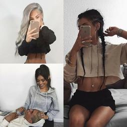 Women's Hoodie Sweatshirt Jumper Sweater Crop Top Casual Spo