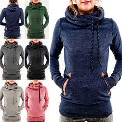 Women's Pocket Hooded Long Sleeve Sweatshirt Hoodie Pullover