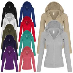 Women's Solid Casual Basic Zip Up Hoodie Long Sleeves Jacket