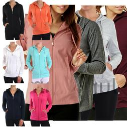 Womens Classic Active Basic Cotton Hooded Hoodie Jacket Swea