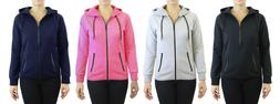 Womens Full Zip Hoodie w/ Zipper Pockets Tech Fleece Slim Fi