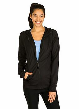 RBX Active Women's Stretchy Zip-Up Hooded Running Jacket Bla