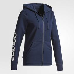 adidas Essentials Linear Hoodie Womens Navy/White Logo Graph