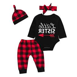 XUANOU Baby Long Sleeve Letter Top + Plaid Pants Hat Hair St