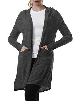 NINEXIS Women's Basic Long Sleeve Hooded Cardigan with Drop
