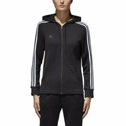 Womens Adidas Essentials Cotton Fleece 3-Stripe Full Zip Ho
