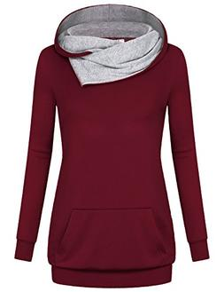 Miusey Burgundy Tops for Women, Ladies Youth Sweatshirt with