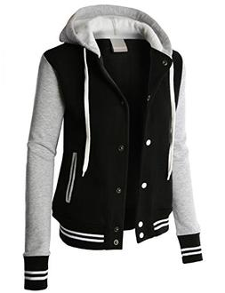 LE3NO Premium Womens Contrast Sleeve Fleece Varsity Baseball