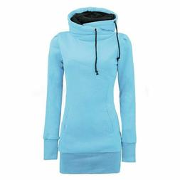 Drawstring Hoodies Pullover Women Hooded Sweater Solid Casua