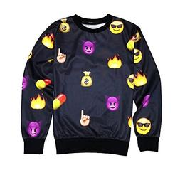 Mens Women Emoji Emoction Funny Sweatshirt Hoodies Black Emo
