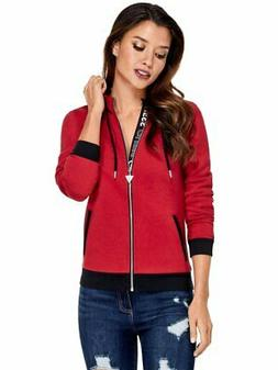 GUESS Factory Women's Myrah Active Logo Zip Hoodie