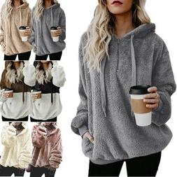 Fashion Women Fluffy Teddy Fleece Hoodies Jumper Hooded Swea