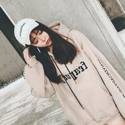 Women Fashion Korean Hoodies Sweatshirt Hooded Coat Pullover