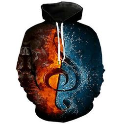 Fashion Women Men Hoodies 3D Print Ice Mixed With Fire Note