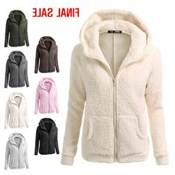Fashion Women's Clothes Long Sleeve Fleece Zip Up Plush Jack