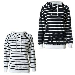 Fashion Women's Slim Stripe Hoodie Hooded Sweatshirt Coat Ja