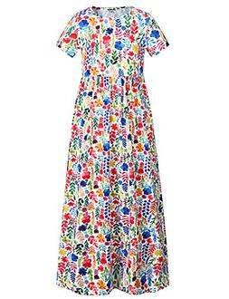Jxstar Girl Floral Flared Pocket Maxi Short Sleeves Elegant