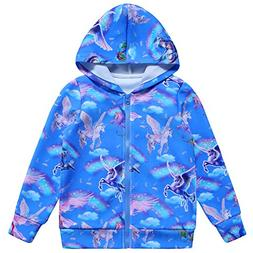 Jxstar Girls Hoodie Bomber Jacket Blue Sky Unicorn Print Lon