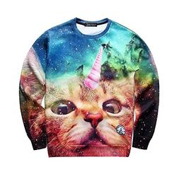 Ancia Hipsters 3d Digital Printed Crew Neck Pullover Sweater