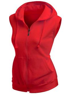 Women hooded Cotton Vest RED XXL