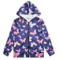 Hoodie for Girls Butterfly Zip Up Jackets Sweatshirt Navy Bl
