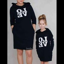 Hoodie Casual Pullover Black LOVE Women's Kid's Sweatshirt D