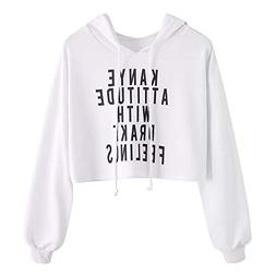 XUANOU Hoodie Long Sleeve Girl Plus Size Patchwork Casual Cr