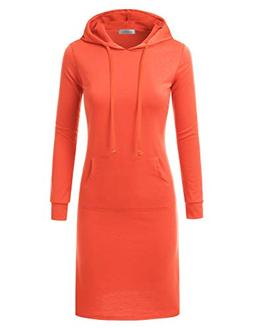 Doublju Hoodie Midi Dress for Women with Plus Size Coral 2X