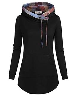 DJT Hoodies for Women, Women's Plaid Funnel Neck Pullover Pl