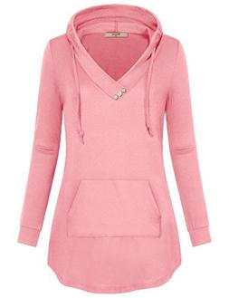 Miusey Hoodies for Teen Girls,Juniors V Neck Solid Pullover