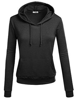 J.TOMSON Women's Basic Long Sleeve Pullover Hoodie with Kang